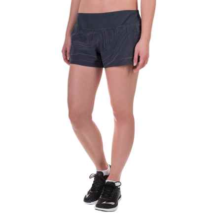 "Brooks Chase 3"" Running Shorts - Built-In Mesh Briefs (For Women) in Asphalt Reflective Cosmo - Closeouts"