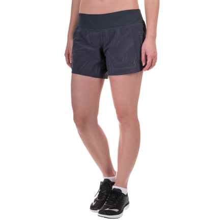 "Brooks Chaser 5"" Shorts - Built-In Brief (For Women) in Asphalt Reflective Cosmo - Closeouts"