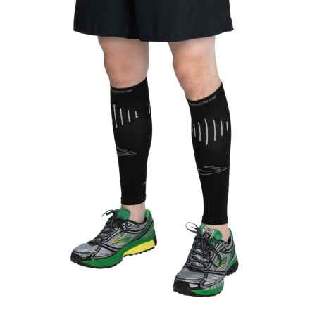 Brooks Compression Calf Sleeves (For Men and Women) in Black/White - Closeouts