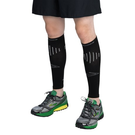 Brooks Compression Calf Sleeves (For Men and Women) in Black/White