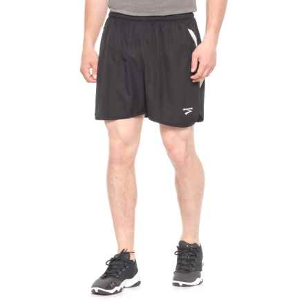 Brooks Curved Side Panel Running Shorts - Built-In Briefs (For Men) in Black/White - Closeouts