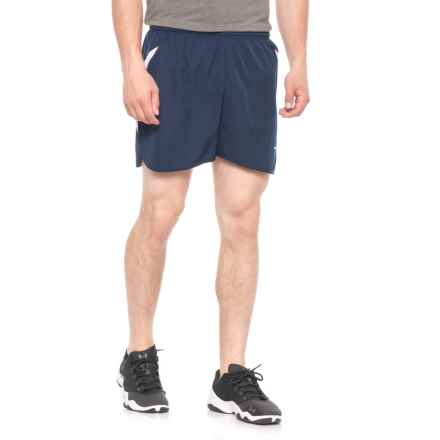 Brooks Curved Side Panel Running Shorts - Built-In Briefs (For Men) in Navy/White - Closeouts
