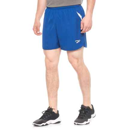 Brooks Curved Side Panel Running Shorts - Built-In Briefs (For Men) in Royal/White - Closeouts