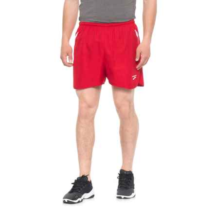 Brooks Curved Side Panel Running Shorts - Built-In Briefs (For Men) in True Red/White - Closeouts