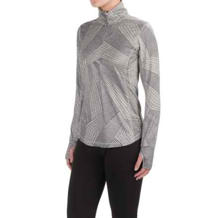 Brooks Dash Shirt - Zip Neck, Long Sleeve (For Women) in Heather Oxford Big Sunshine - Closeouts