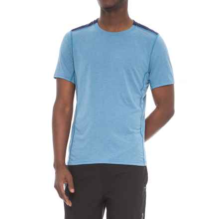 Brooks Distance Shirt - Short Sleeve (For Men) in Heather Bay/Navy - Closeouts