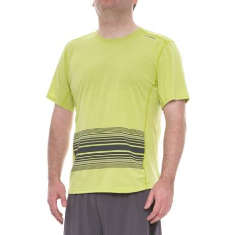 Brooks Distance Shirt - Short Sleeve (For Men) in Heather Grove/Asphalt Macro