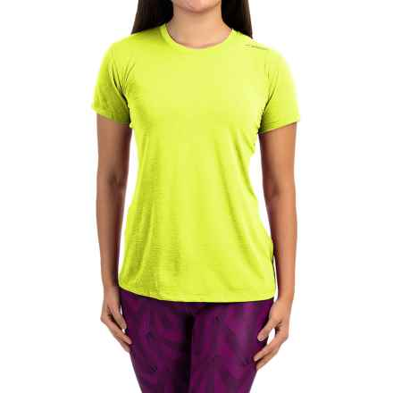 Brooks Distance Shirt - Short Sleeve (For Women) in Heather Nightlife - Closeouts