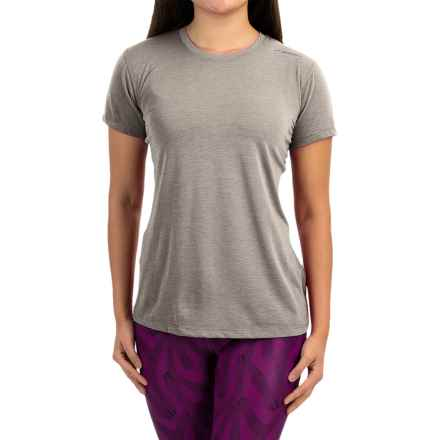Brooks Distance Shirt - Short Sleeve (For Women) in Heather Oxford/Sol Shine - Closeouts