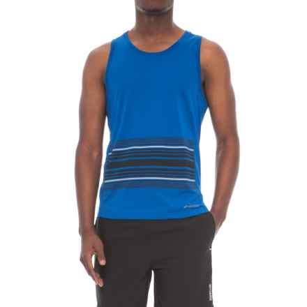 Brooks Distance Tank Top (For Men) in Heather Cobalt/Black Macro - Closeouts