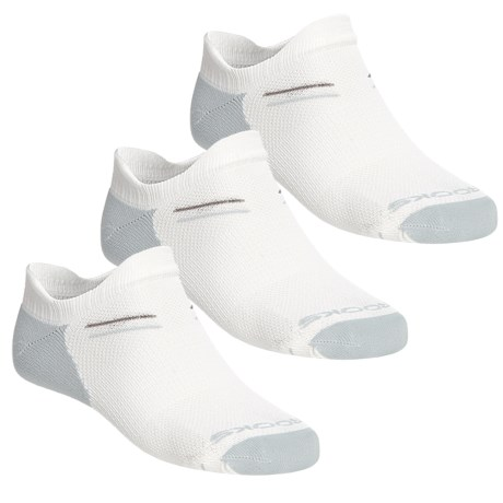 Brooks Double Tab Socks - 3-Pack, Below the Ankle (For Men and Women) in White/Pearl