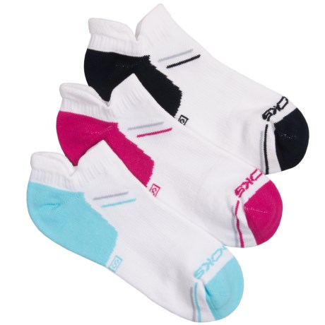 Brooks Double Tab Socks - 3-Pack (For Men and Women) in White W/Pomegranate/White W/Aqua/White W/Black