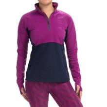 Brooks Drift Zip Neck Shirt - Long Sleeve (For Women) in Currant/Navy - Closeouts