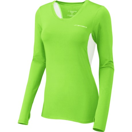 Brooks Equilibrium Shirt - Long Sleeve (For Women) in Brite Green/Brite White