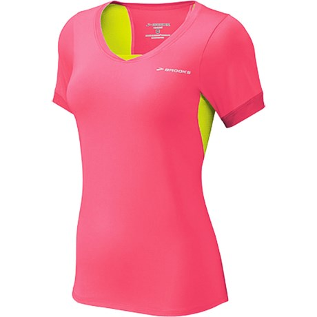 Brooks Equilibrium Shirt - Short Sleeve (For Women) in Brite Pink/Nightlife