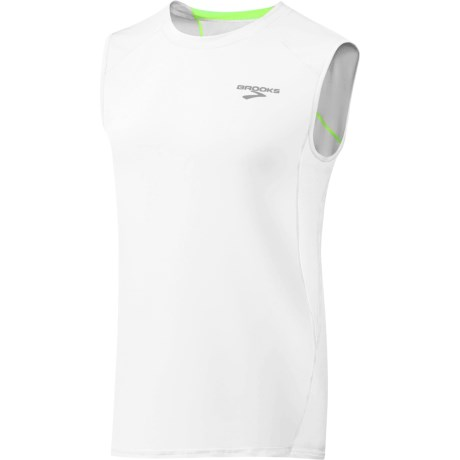 Brooks Equilibrium T-Shirt - Sleeveless (For Men) in Brite White/Brite Green
