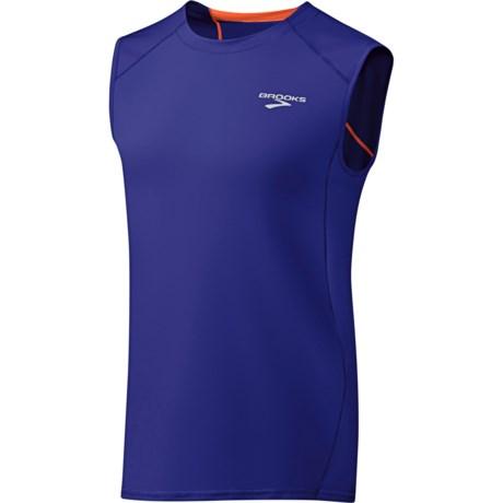 Brooks Equilibrium T-Shirt - Sleeveless (For Men) in Ultramarine/Brite Orange