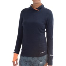 Brooks Essential Hoodie (For Women) in Heather Midnight/Heather Creamsicle - Closeouts