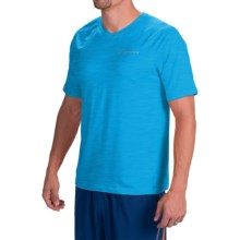 Brooks Essential II Shirt - V-Neck, Short Sleeve (For Men) in Heather Atlantic - Closeouts