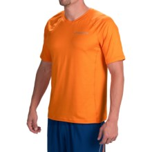 Brooks Essential II Shirt - V-Neck, Short Sleeve (For Men) in Heather Satsuma/Heather Indigo - Closeouts