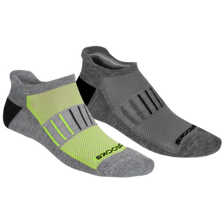 Brooks Essential Low-Cut Socks - 2-Pack, Below-the-Ankle (For Men and Women) in Heather Grey/Neon Yellow/Black