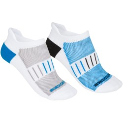 Brooks Essential Low-Cut Socks - 2-Pack, Below the Ankle (For Men and Women) in White/Black/Brooks Blue