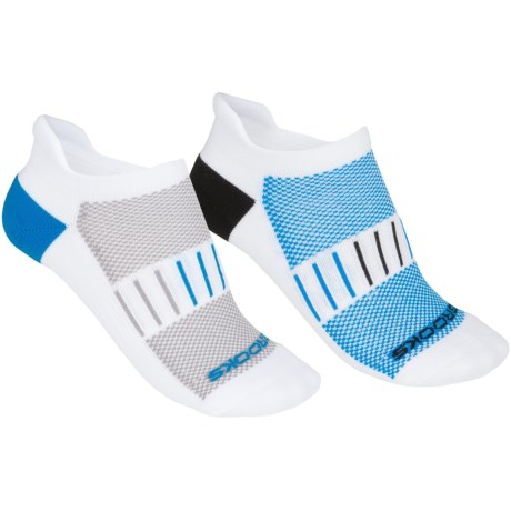 Brooks Essential Low-Cut Socks - 2-Pack, Below-the-Ankle (For Men and Women) in White/Black/Brooks Blue