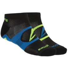 Brooks Essential Low Quarter Socks - 2-Pack, Ankle (For Men and Women) in Black/Galaxy/Neon Yellow - Closeouts