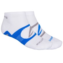 Brooks Essential Low Quarter Socks - 2-Pack, Ankle (For Men and Women) in White/Blue/Grey - Closeouts