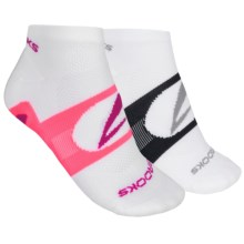 Brooks Essential Low Quarter Socks - 2-Pack, Ankle (For Men and Women) in White W/Bright Pink/White W/Midnight - Closeouts