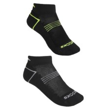 Brooks Essential Low Socks - Ankle, 2-Pack (For Men and Women) in Black W/Yellow/Grey - 2nds