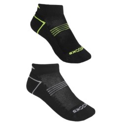 Brooks Essential Low Socks - Ankle, 2-Pack (For Men and Women) in Black W/Yellow/Grey
