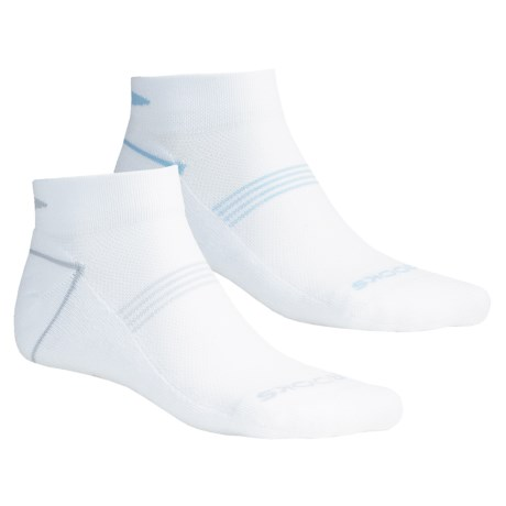 Brooks Essential Low Socks - Ankle, 2-Pack (For Men and Women) in White/Assorted Logo Color