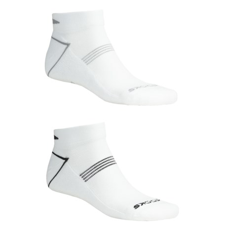 Brooks Essential Low Socks - Ankle, 2-Pack (For Men and Women) in White W/Black/Grey
