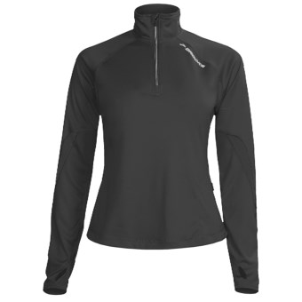 Brooks Essential Run Shirt - Zip Neck, Long Sleeve (For Women) in Black