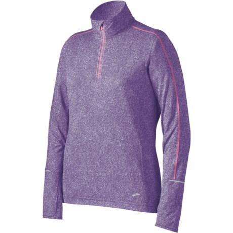 Brooks Essential Run Shirt - Zip Neck, Long Sleeve (For Women) in Heather Midnight
