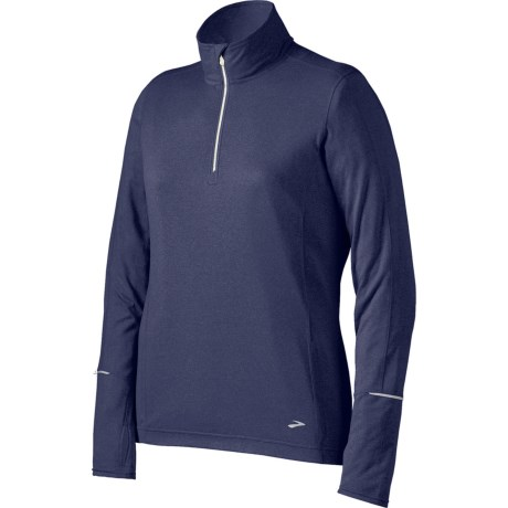 Brooks Essential Run Shirt - Zip Neck, Long Sleeve (For Women) in Heather Midnight