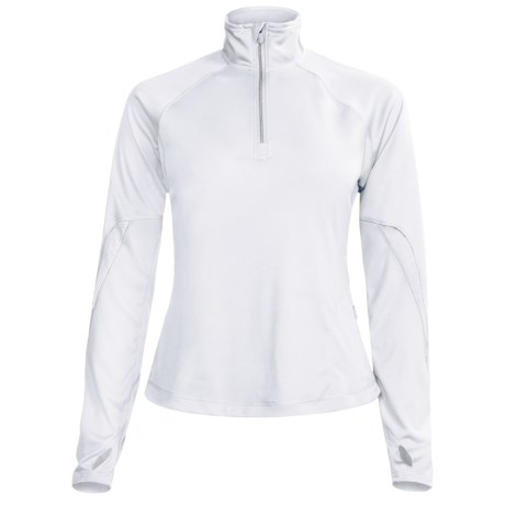 Brooks Essential Run Shirt - Zip Neck, Long Sleeve (For Women) in White