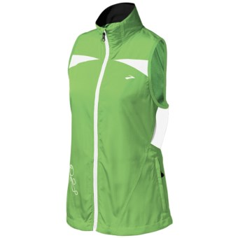 Brooks Essential Run Vest (For Women) in Brite Green/Brite White