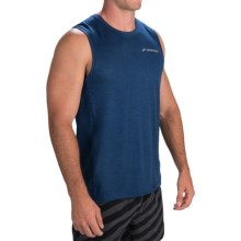 Brooks Essential Shirt - Sleeveless (For Men) in Heather Indigo/Heather Satsuma - Closeouts