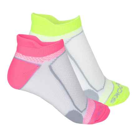 Brooks Essential Tab Socks - 2-Pack (For Men and Women) in Bright Pink/White/Neon Yellow/White - 2nds