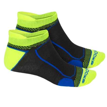 Brooks Essential Tab Socks - 2-Pack (For Men and Women) in Neon Yellow/Black/Bright Blue - 2nds