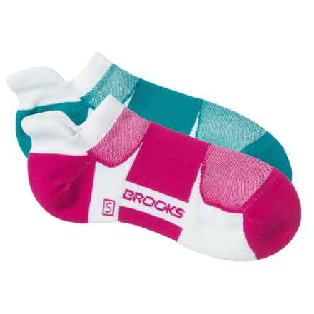 Brooks Essential Tab Socks - 2-Pack (For Men and Women) in White/Carribian/Fuchsia - 2nds