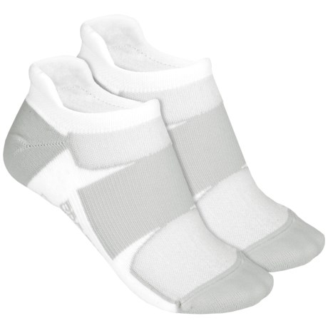 Brooks Essential Tab Socks - 2-Pack (For Men and Women) in White/Grey White/Grey