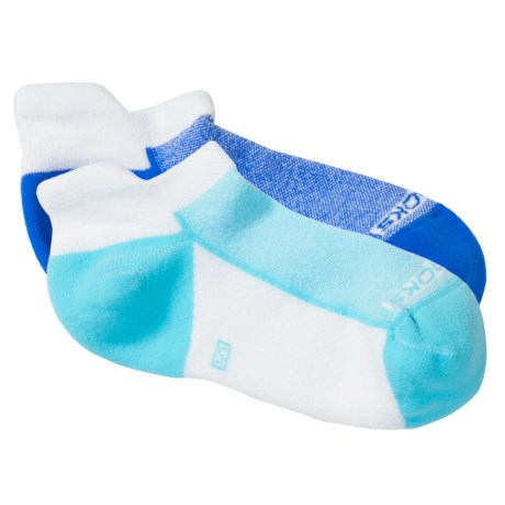 Brooks Essential Tab Socks - 2-Pack (For Men and Women) in White/Seafoam/Korn Blue