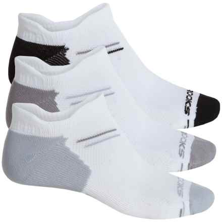 Brooks Every Day Double-Tab Socks - 3-Pack, Below the Ankle ( For Men and Women) in White/Black/White/Light Grey/White/Dark Grey - Closeouts
