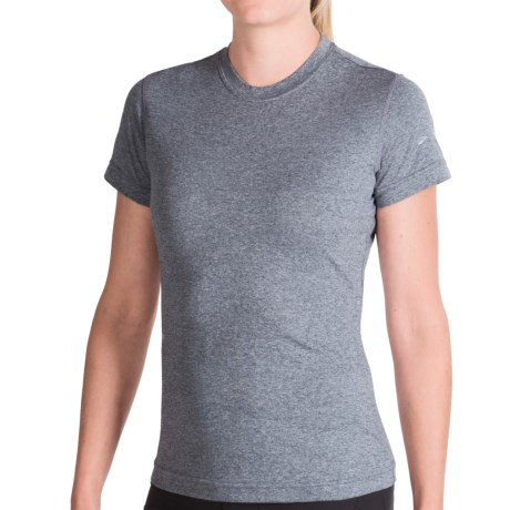 Brooks EZ T-Shirt - Short Sleeve (For Women) in Grey Heather