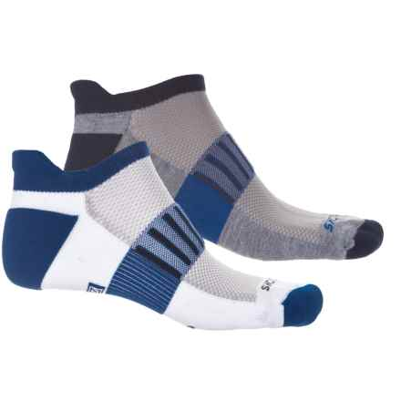 Brooks Ghost Midweight Running Socks - 2-Pack, Below the Ankle (For Men and Women) in Heather Grey Navy/White Mara - Closeouts