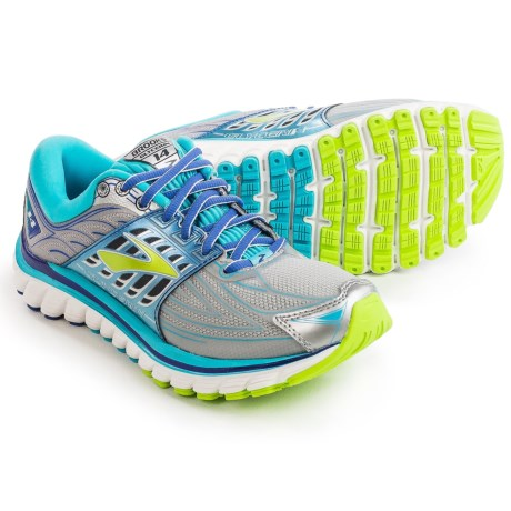 Brooks Glycerin 14 Running Shoes (For Women) in Silver/Blue Atoll/Lime Punch