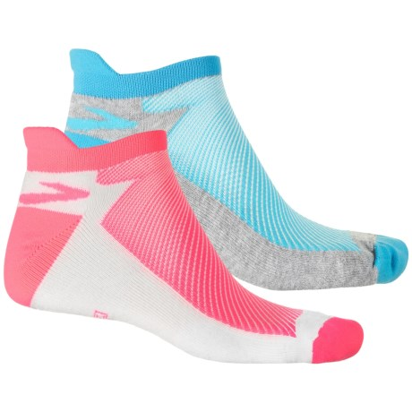 Brooks Glycerin Lightweight Socks - 2-Pack, Ankle (For Men and Women) in Pink/White Turquoise /Grey